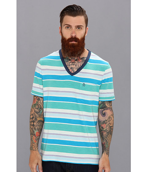 Original Penguin - V-Neck Stripe Tee (Bright Aqua) Men