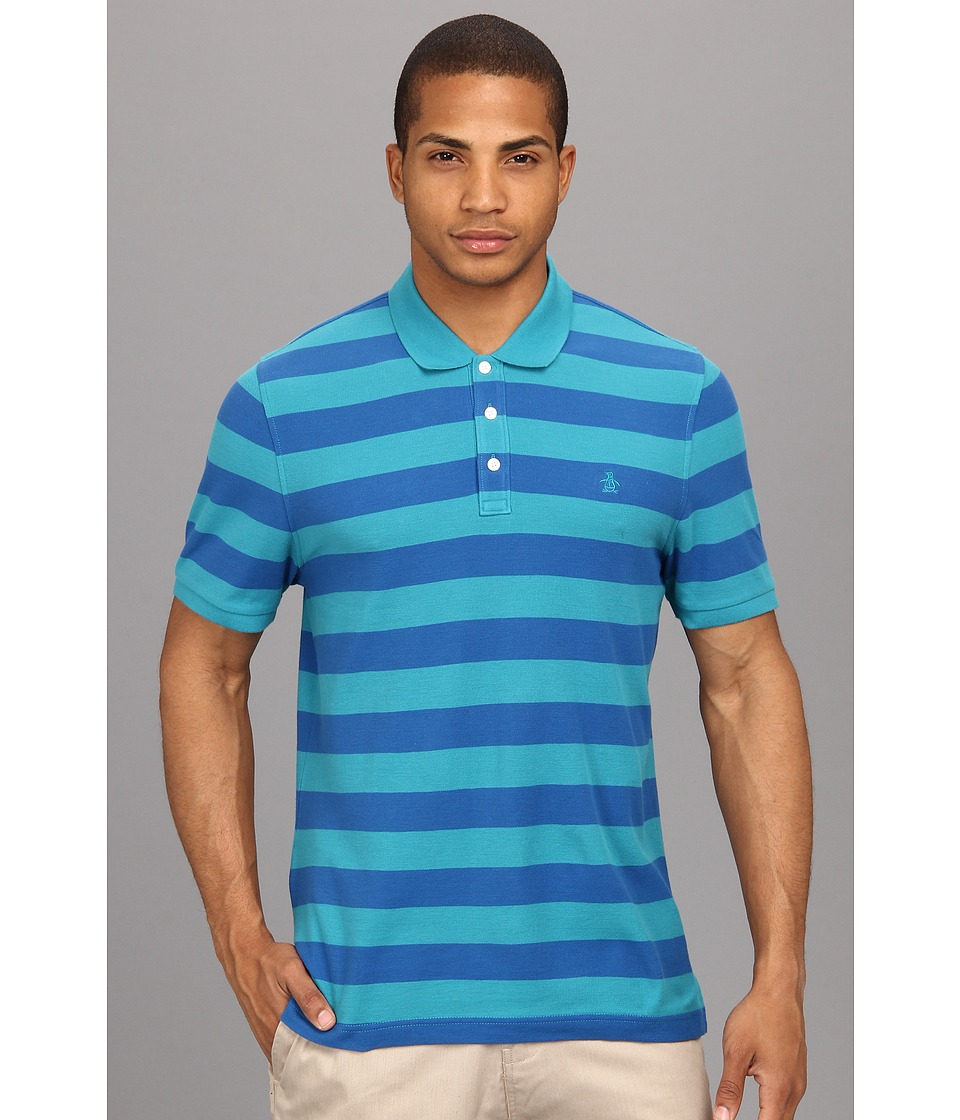 Original Penguin - Heritage Fit Stripe Pique Polo (Biscay Bay) Men's Short Sleeve Pullover
