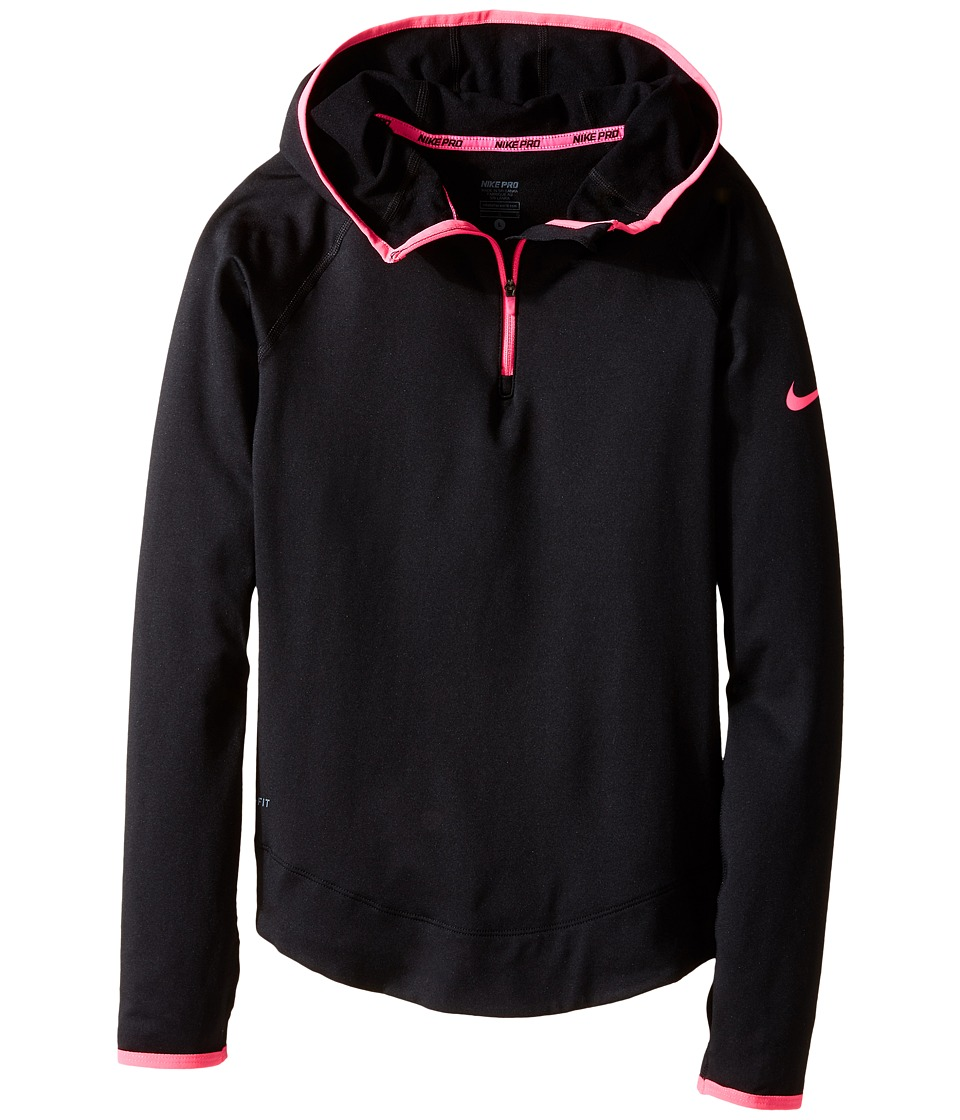 Nike Kids - Pro Hyperwarm 3.0 Half Zip (Little Kids/Big Kids) (Black/Hyper Pink/Hyper Pink) Girl