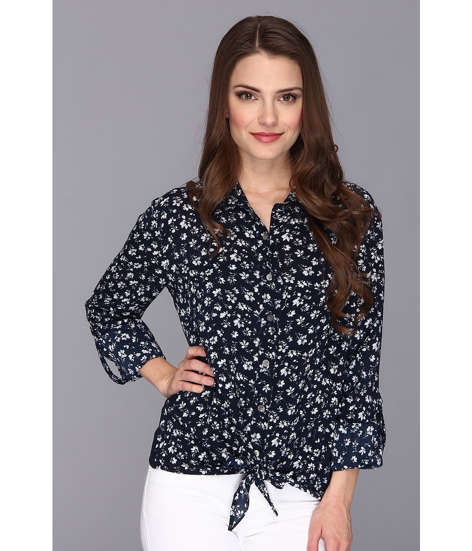 TWO by Vince Camuto - Petite Floral Tie Front Shirt (Blue Night) Women