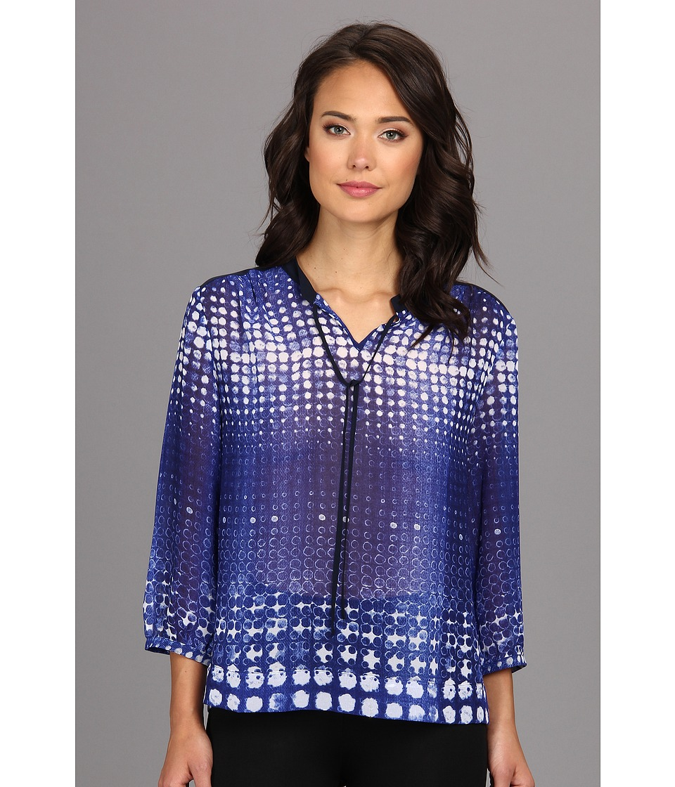 TWO by Vince Camuto - Diffuse Dots Neck Tie Shirt (Blue Night) Women's Blouse
