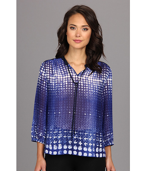 TWO by Vince Camuto - Diffuse Dots Neck Tie Shirt (Blue Night) Women