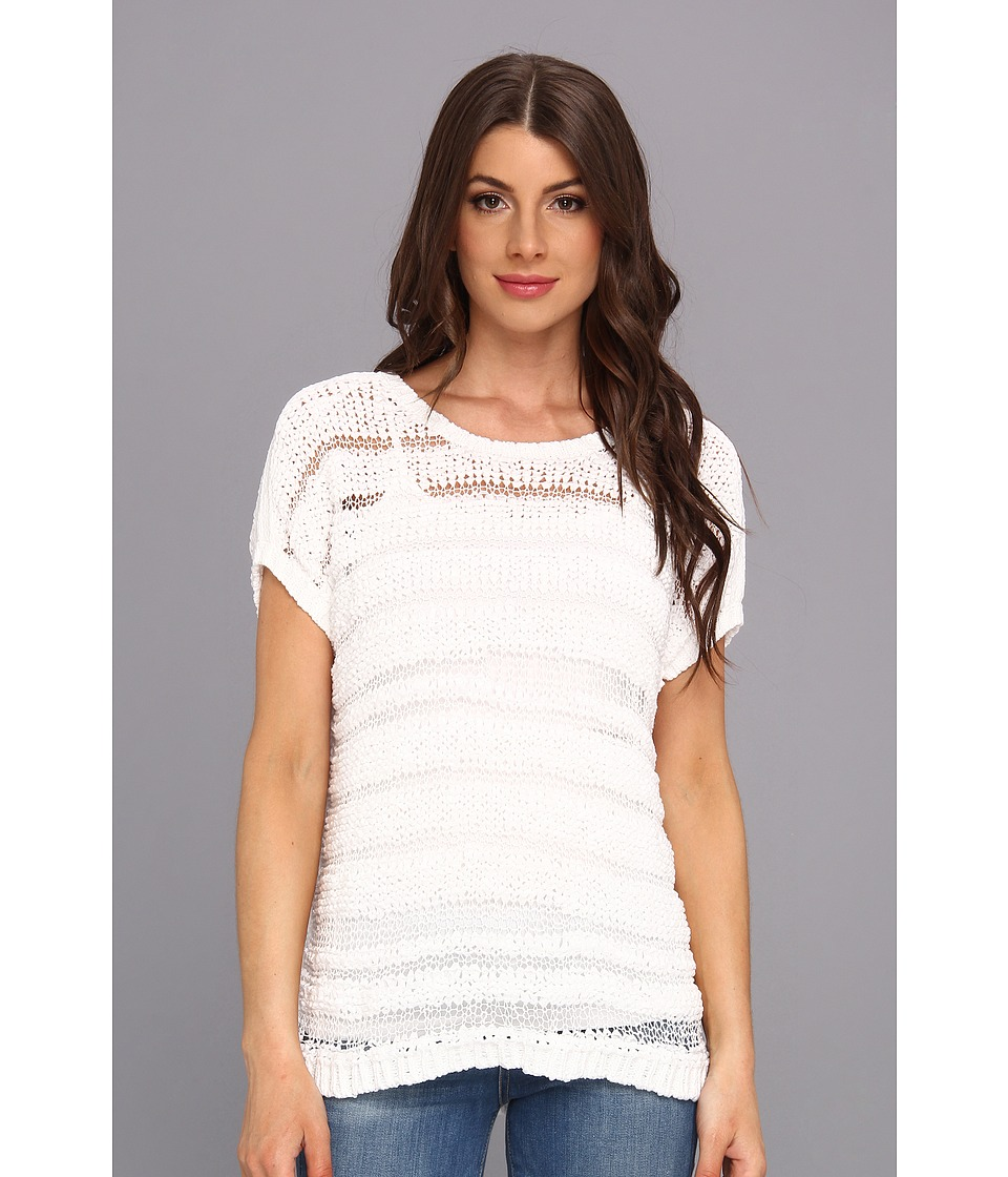 TWO by Vince Camuto - S/S Crinkle Stripe Sweater (Ultra White) Women's Sweater