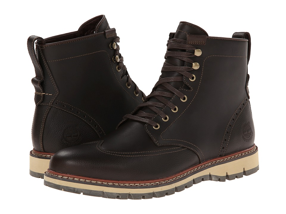 Timberland Earthkeepers Britton Hill Wing Tip Boot Waterproof (Dark Brown Smooth) Men