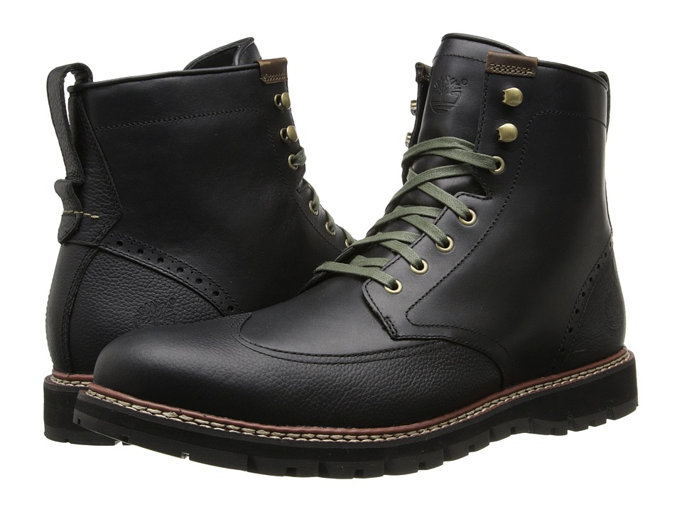 Timberland - Earthkeepers Britton Hill Wing Tip Boot Waterproof (Black Smooth) Men