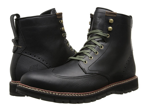 Timberland - Earthkeepers Britton Hill Wing Tip Boot Waterproof (Black Smooth) Men's Lace-up Boots