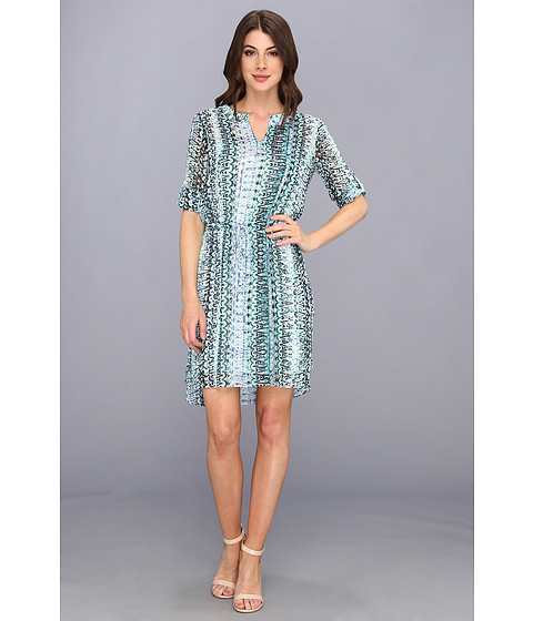 TWO by Vince Camuto - 3/4 Sleeve Folk Geo Maxi Dress (Blue Night) Women