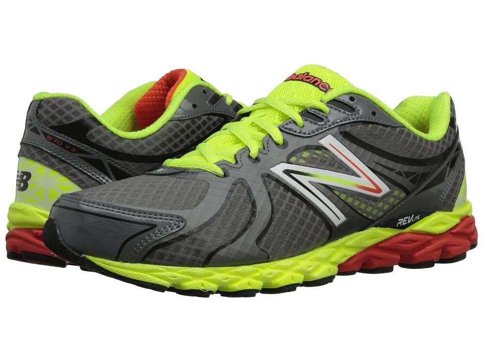 New Balance - M870v3 (Grey/Yellow) Men's Running Shoes