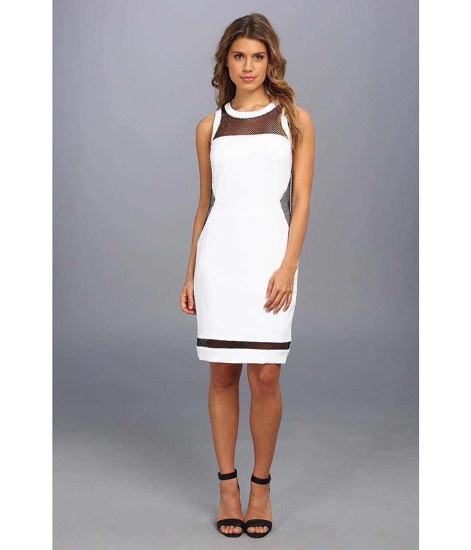 Laundry by Shelli Segal - Stretch Crepe And Mesh Dress (Optic White) Women's Dress