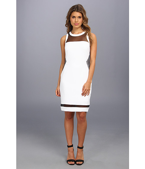 Laundry by Shelli Segal - Stretch Crepe And Mesh Dress (Optic White) Women