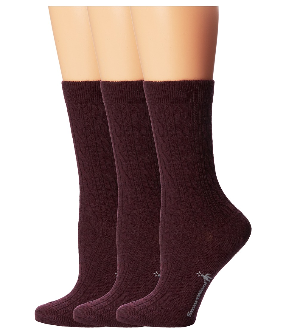 Smartwool - Cable 3-Pair Pack (Aubergine Heather) Women's Crew Cut Socks Shoes