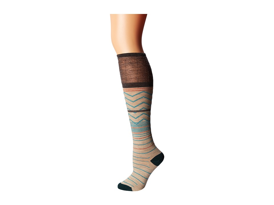 Smartwool - Metallic Optic Frills (Taupe Heather) Women's Crew Cut Socks Shoes