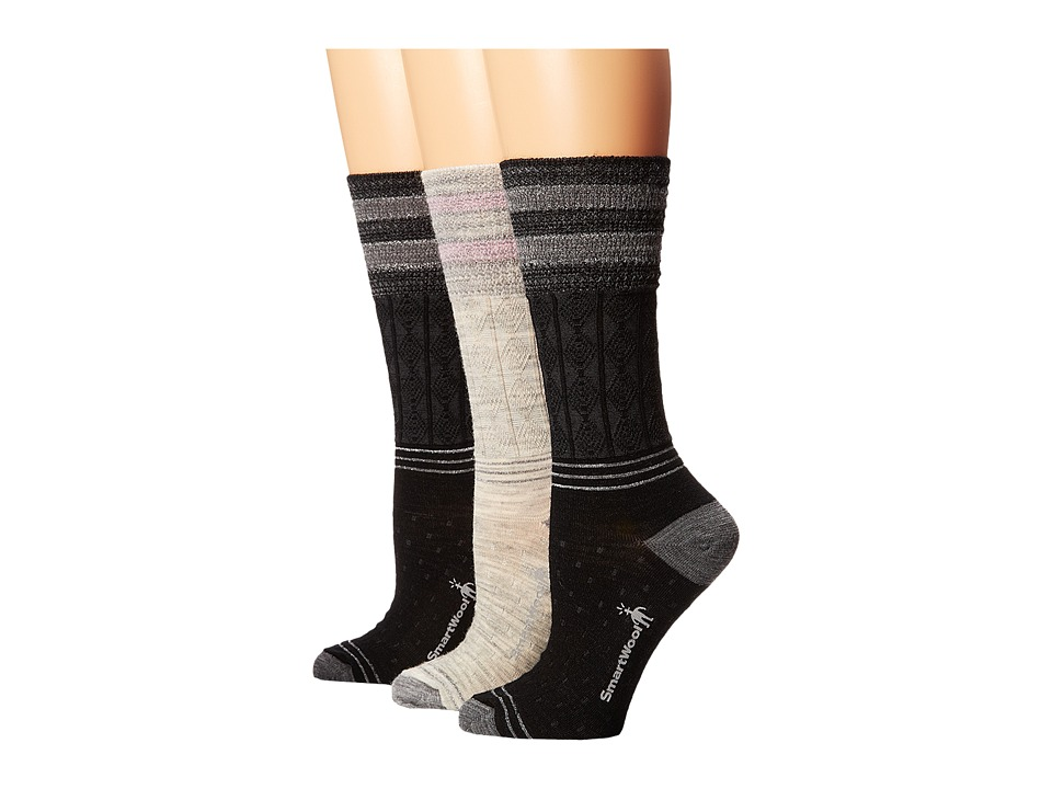Smartwool - Metallic Striped Cable 3-Pack (Black/Ash Heather/Black) Women's Crew Cut Socks Shoes