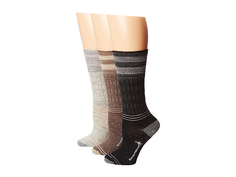 Smartwool - Metallic Striped Cable 3-Pack (Ash Heather/Taupe Heather/Black) Women's Crew Cut Socks Shoes