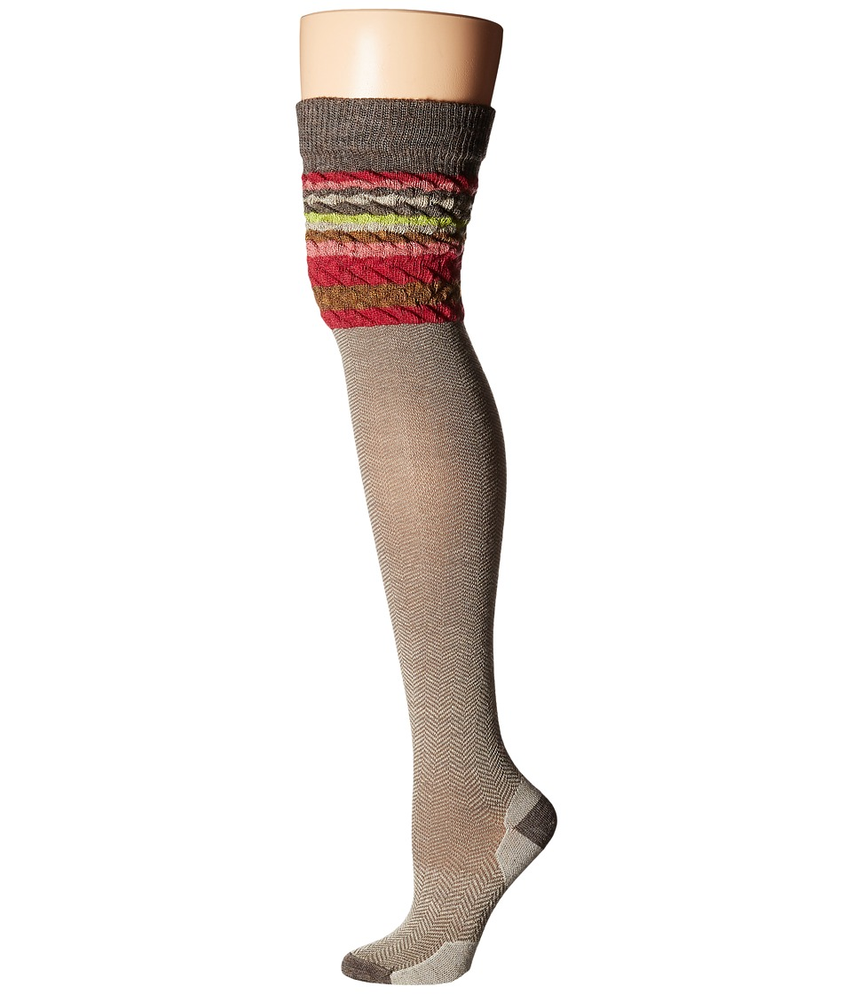 Smartwool - Striped Chevron (Taupe Heather) Women's Crew Cut Socks Shoes