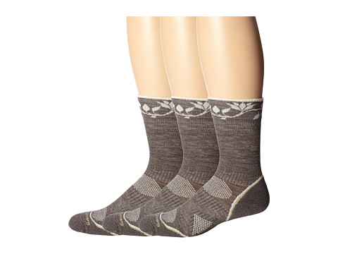 Smartwool - PhD Outdoor Light Pattern Crew 3-Pack (Taupe) Women's Crew Cut Socks Shoes