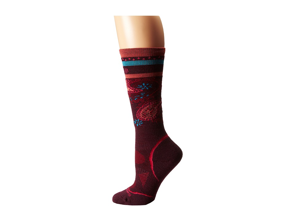 Smartwool - PhD Ski Light Pattern (Aubergine) Women's Crew Cut Socks Shoes
