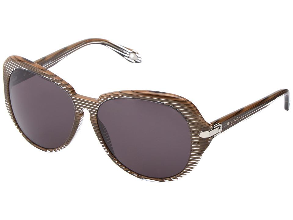 Givenchy - SGV 879 (Black/Gold Stripes/Grey) Fashion Sunglasses