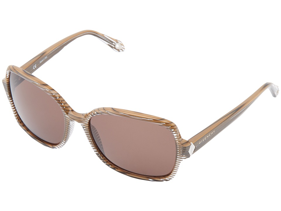 Givenchy - SGV 873 (Clear Striped/Beige/Brown) Fashion Sunglasses