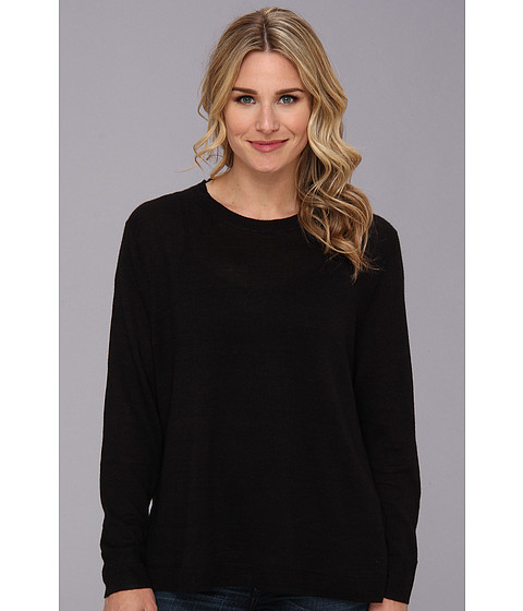 MICHAEL Michael Kors - L/S Crew High-Low Hem Sweater (Black) Women