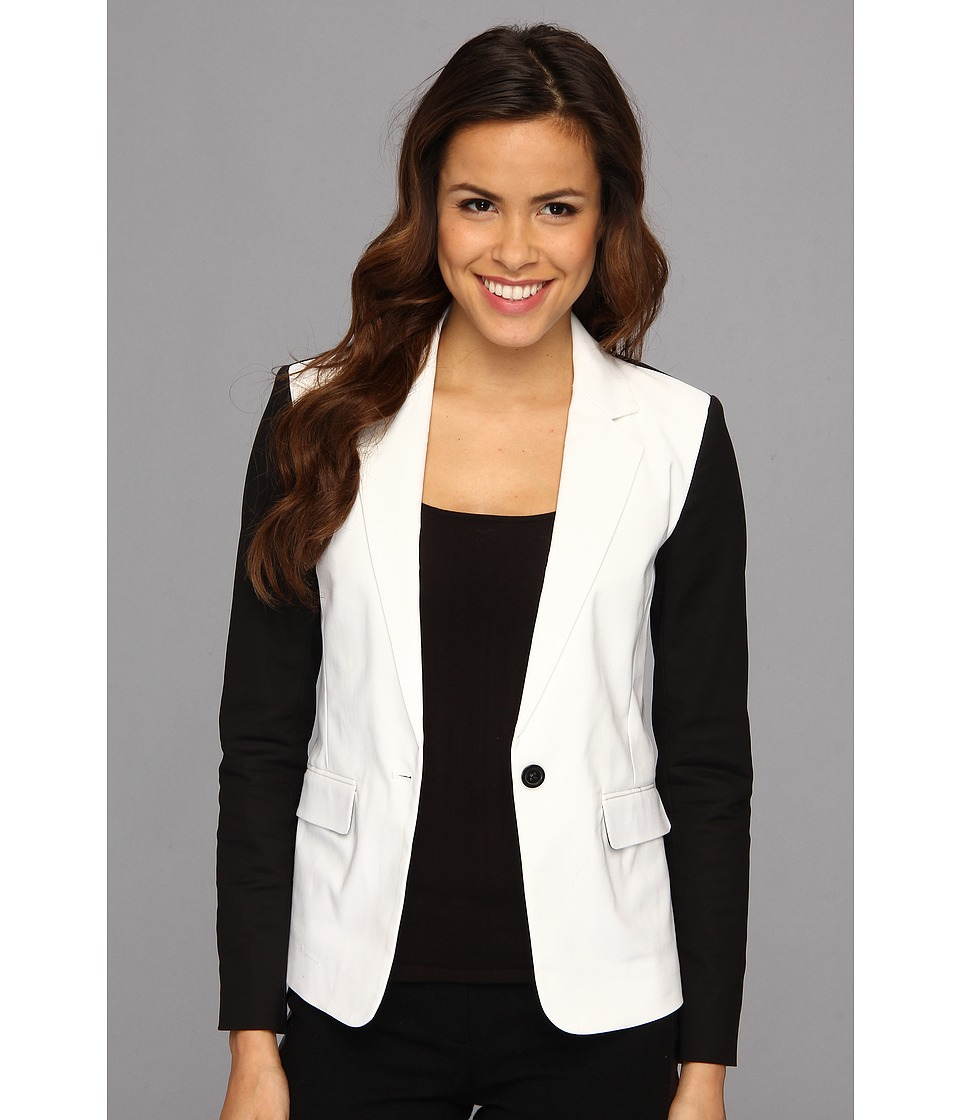 MICHAEL Michael Kors - Contrast Sleeve Jacket (White) Women's Jacket