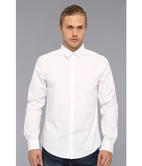 Ben Sherman - Solid L/S Woven Shirt (White) Men's Long Sleeve Button Up