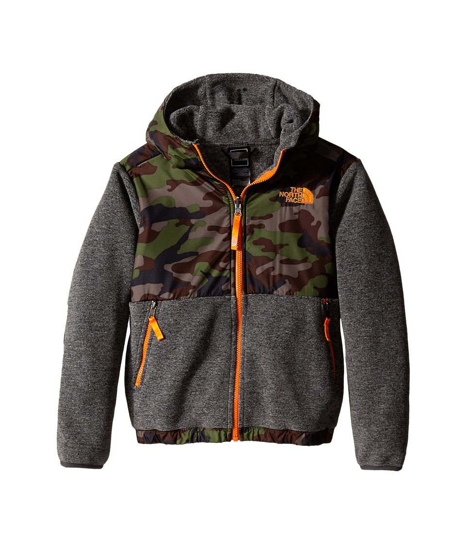 The North Face Kids - Denali Hoodie (Little Kids/Big Kids) (Recycled Charcoal Grey Heather/Scallion Green Camo Print) Boy's Sweatshirt