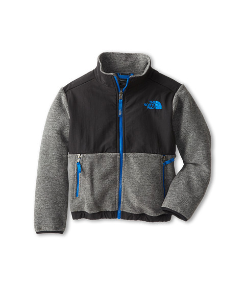 The North Face Kids - Denali Jacket (Little Kids/Big Kids) (Recycled Charcoal Grey Heather/Snorkel Blue) Boy's Coat