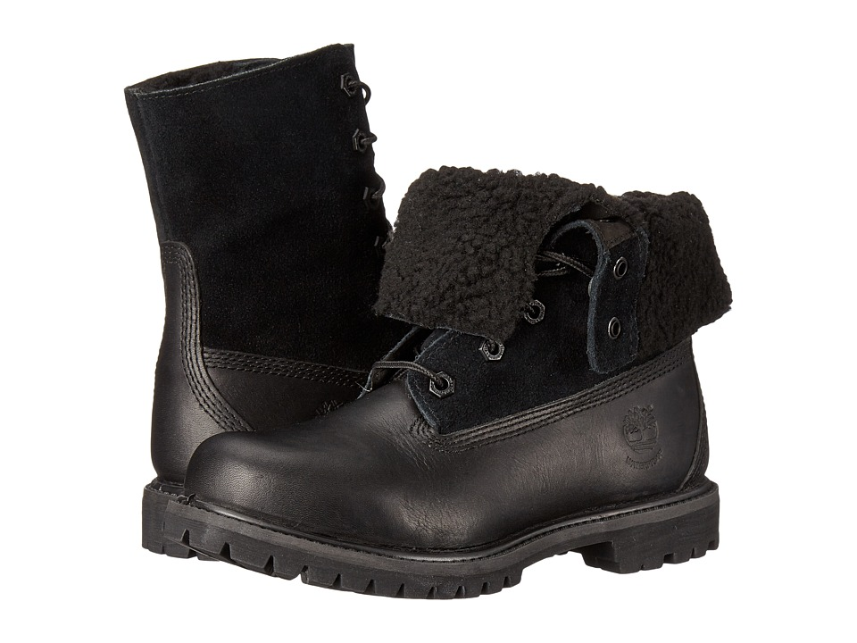 Timberland - Authentics Teddy Fleece Fold-Down (Black/Black) Women's Lace-up Boots