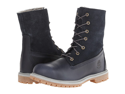 Timberland - Authentics Teddy Fleece Fold-Down (Navy) Women's Lace-up Boots