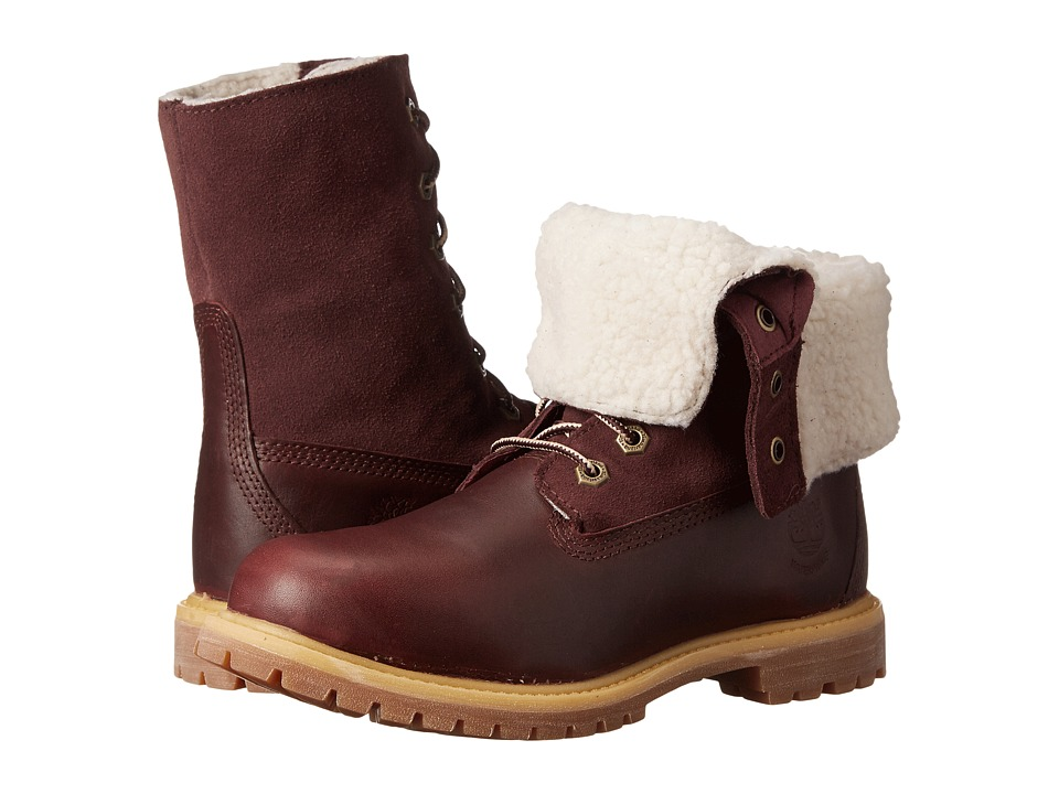 Timberland - Authentics Teddy Fleece Fold-Down (Dark Burgundy) Women's Lace-up Boots
