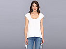 DKNY Jeans Battenburg Lace Sharkbite Tee (White)