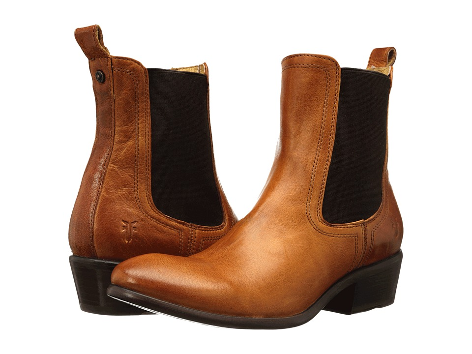 Frye Carson Chelsea (Cognac Washed Antique Pull Up) Women
