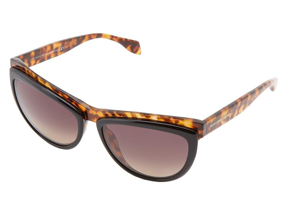 Alexander McQueen - AMQ 4247/S (Havana Black/Grey Green Gradient) Fashion Sunglasses
