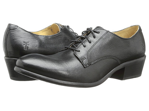 Frye - Carson Oxford (Black Washed Antique Pull Up) Women's Lace up casual Shoes