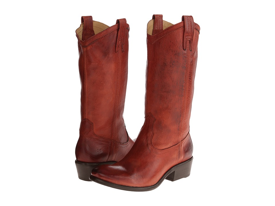 Frye Carson Pull-On (Burnt Red Washed Antique) Cowboy Boots