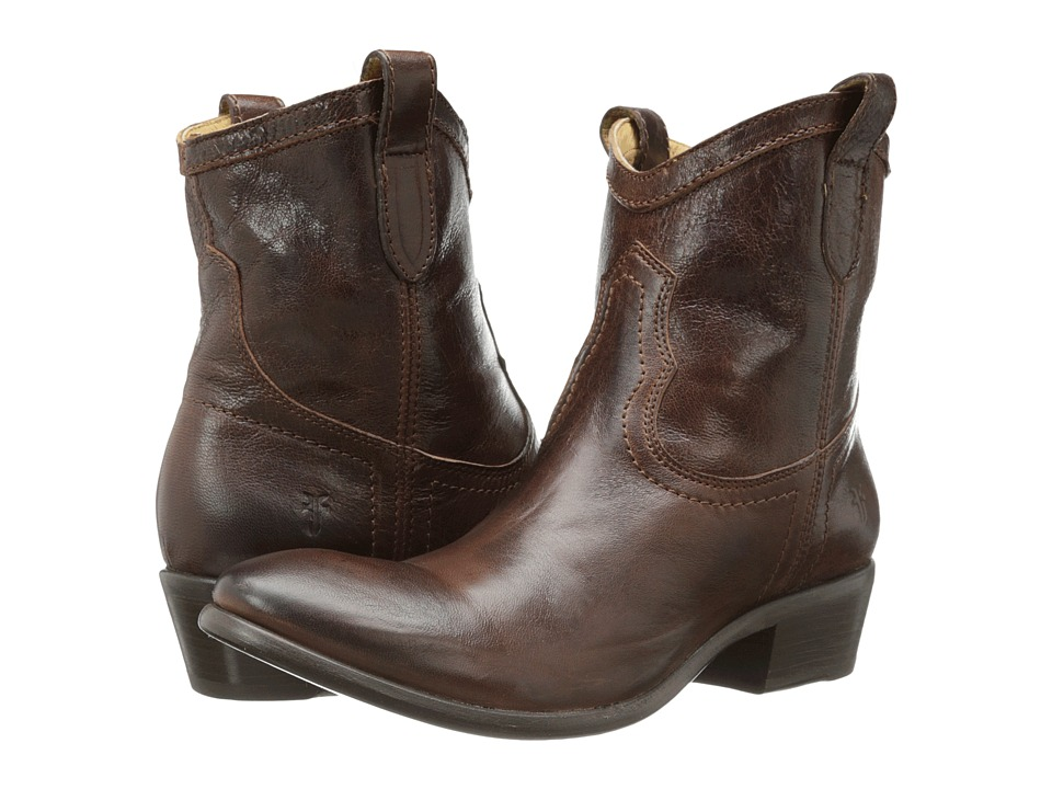 Frye - Carson Shortie (Brown Washed Antique) Cowboy Boots