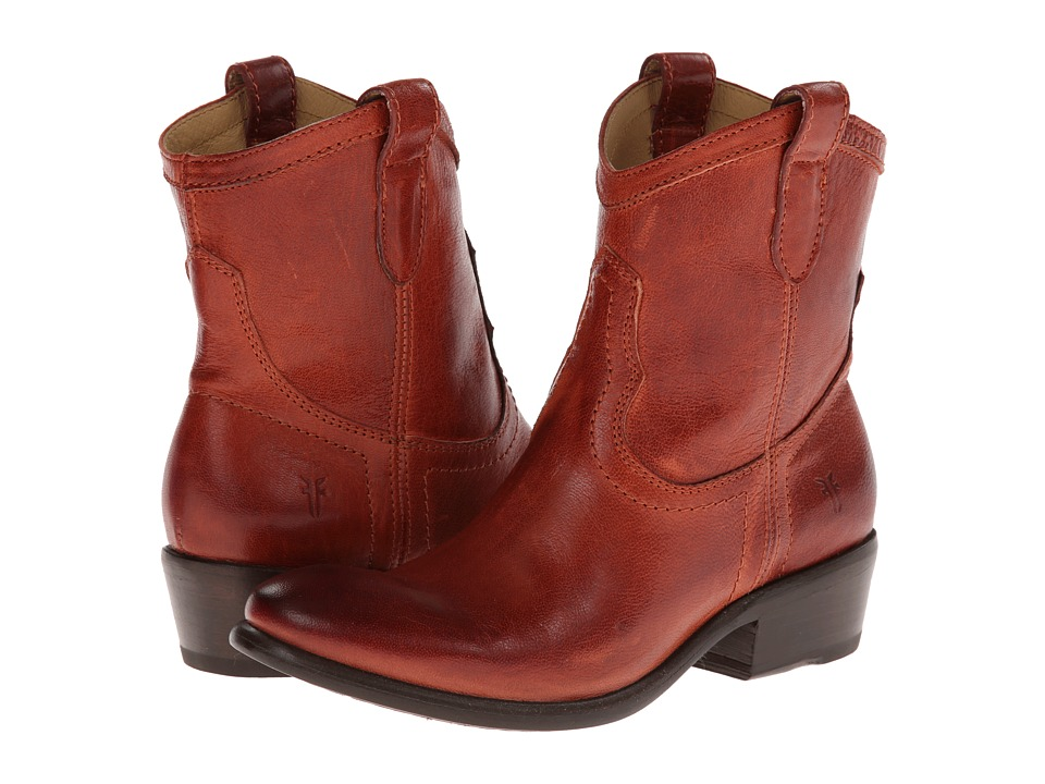 Frye - Carson Shortie (Burnt Red Washed Antique) Cowboy Boots