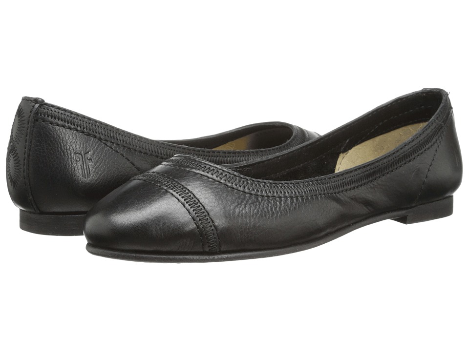 Frye - Carson Stitch Ballet (Black Soft Vintage Leather) Women's Flat Shoes