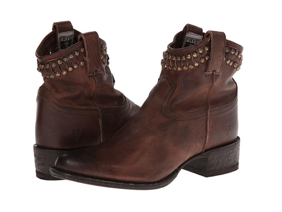 Frye Diana Cut Stud Short Dark Brown Washed Vintage Cowboy Boots