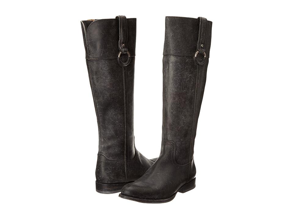 Frye - Jamie Ring Tall (Black Polished Stonewash) Cowboy Boots