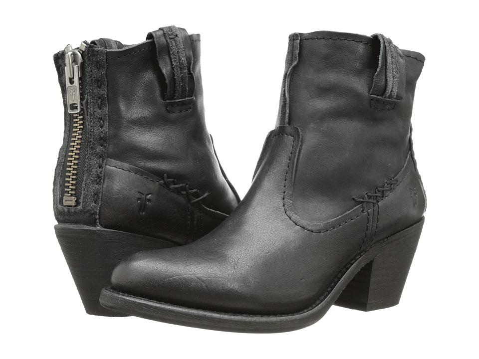 Frye - Leslie Artisan Short (Black Washed Vintage) Cowboy Boots