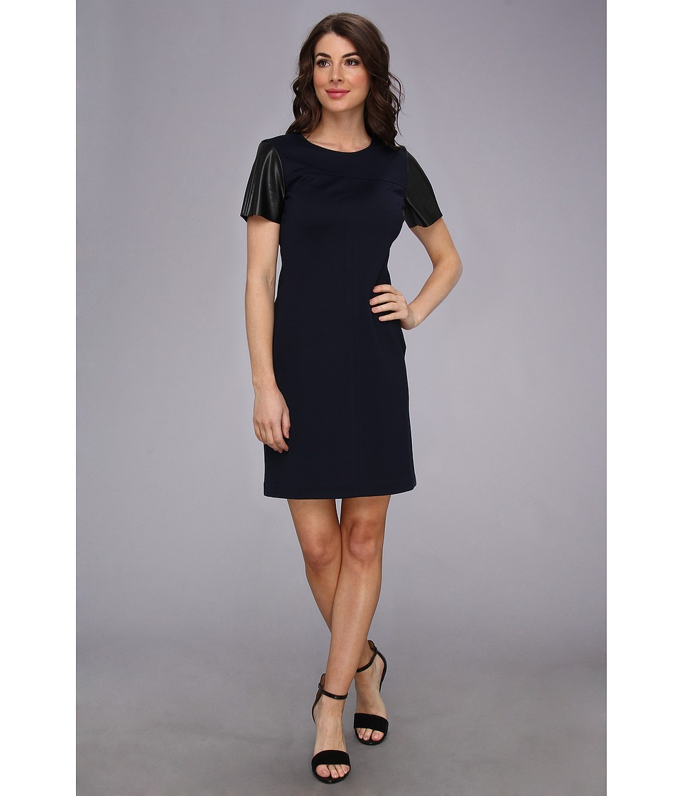 Donna Morgan - Leather Sleeve Ponte Shift (Navy/Black) Women's Dress