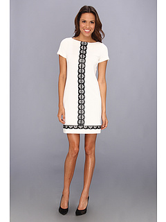 SALE! $64.99 - Save $93 on Donna Morgan Short Sleeve Sheath with Leather Laser Cut Detail Center Front (Ivory Black) Apparel - 58.87% OFF $158.00