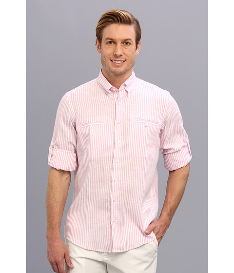 Culture Phit - Adan Regular Fit Linen Shirt (Pink Stripe) Men's Long Sleeve Button Up