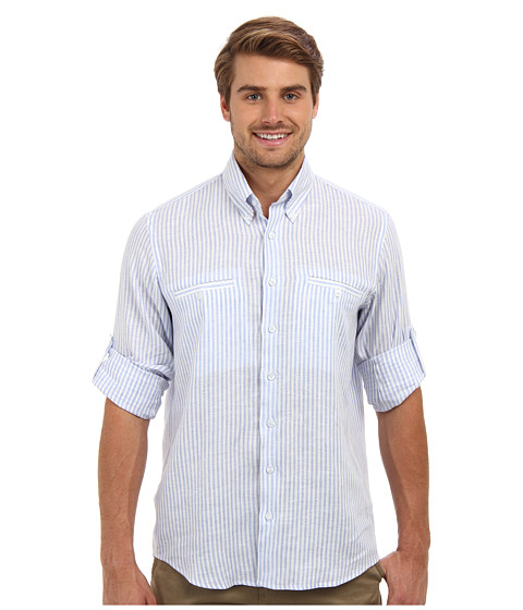 Culture Phit - Adan Regular Fit Linen Shirt (Light Blue Stripe) Men