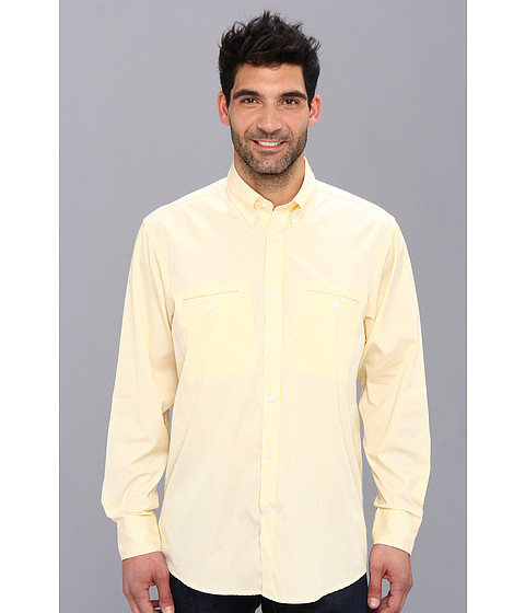 Culture Phit - Aaron Relaxed Fit Sport Shirt (Yellow Check) Men's Long Sleeve Button Up