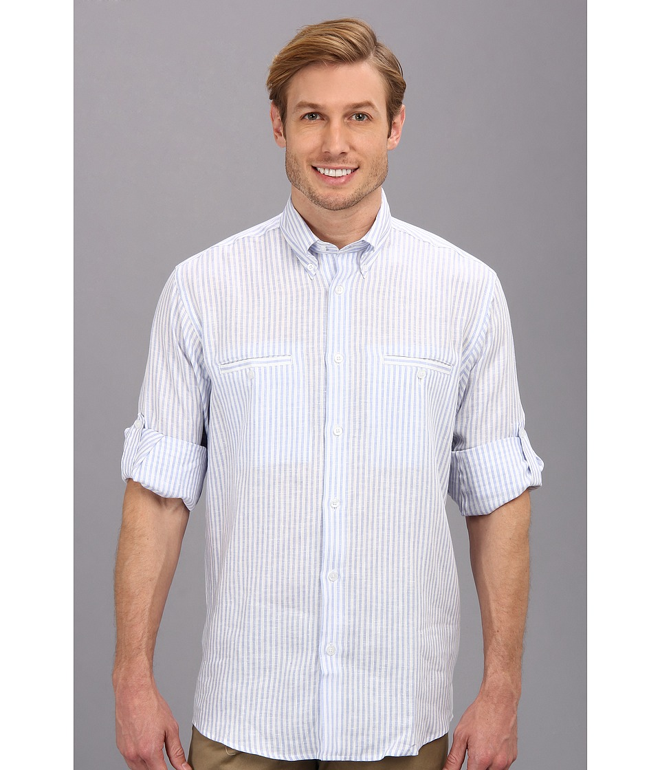 Culture Phit - Adan Relaxed Fit Linen Shirt (Light Blue Stripe) Men's Long Sleeve Button Up