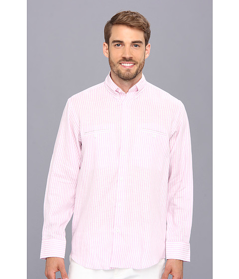 Culture Phit - Adan Relaxed Fit Linen Shirt (Pink Stripe) Men's Long Sleeve Button Up