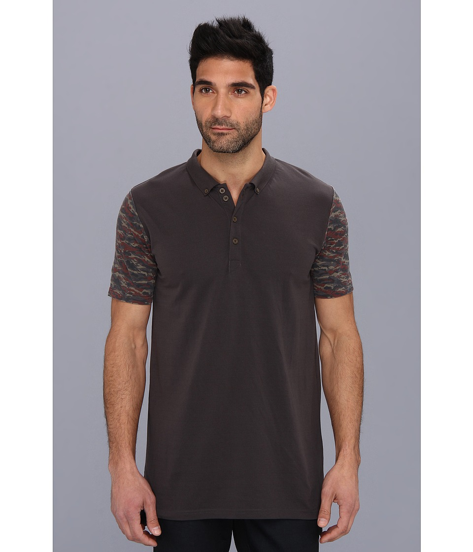 Zanerobe - Camo Blockade Polo Shirt (Washed Black) Men's Short Sleeve Pullover